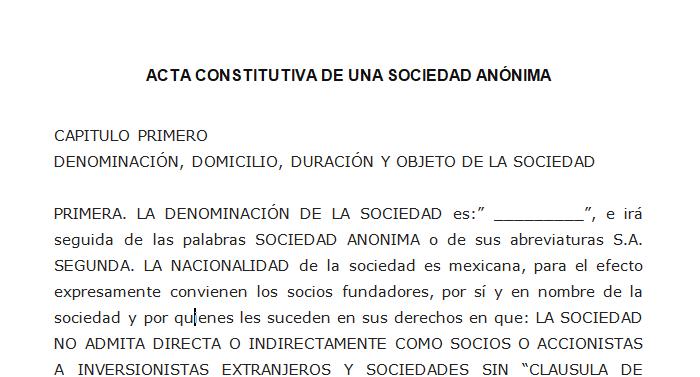 ACTA CONSTITUTIVA DE UNA SOCIEDAD ANÓNIMA