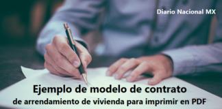 Ejemplo de modelo de contrato de arrendamiento de vivienda para imprimir en PDF